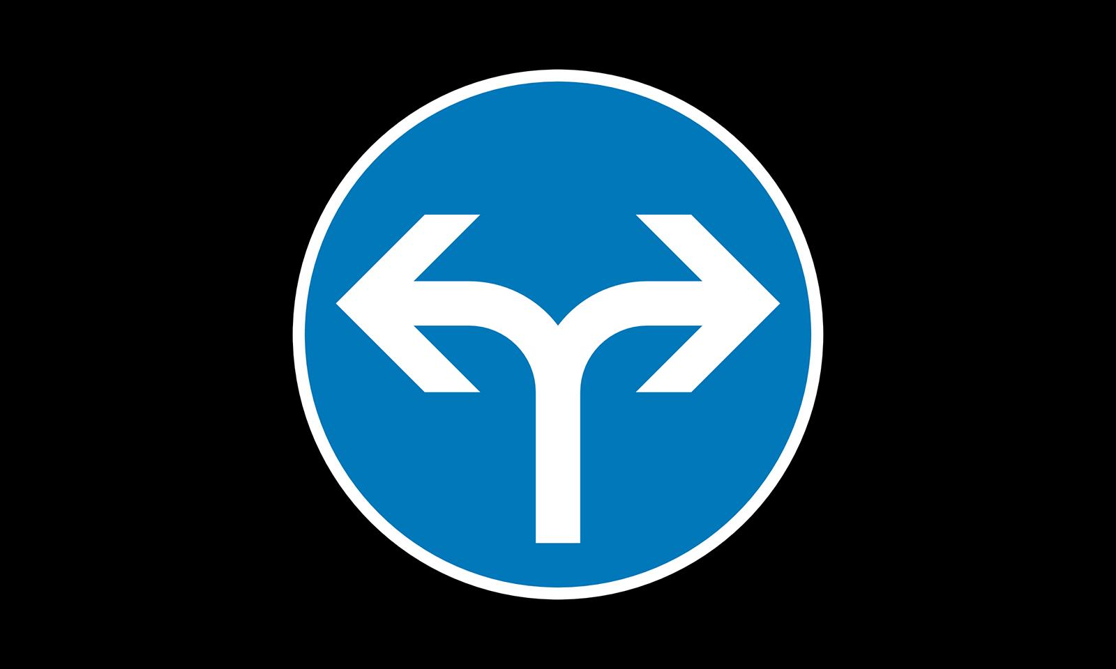 In welche Richtungen dürfen Sie weiterfahren? (Frage-Nr. 1